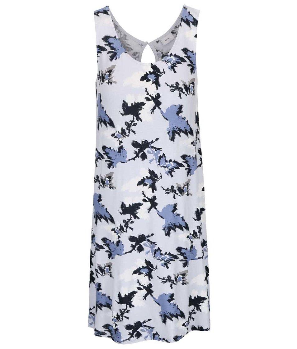 Modré volnější šaty s motivy listů ICHI Lisa