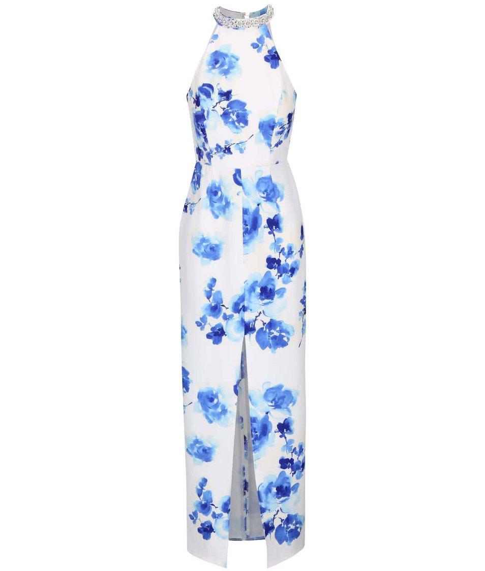Bílé maxišaty s modrými květy Little Mistress