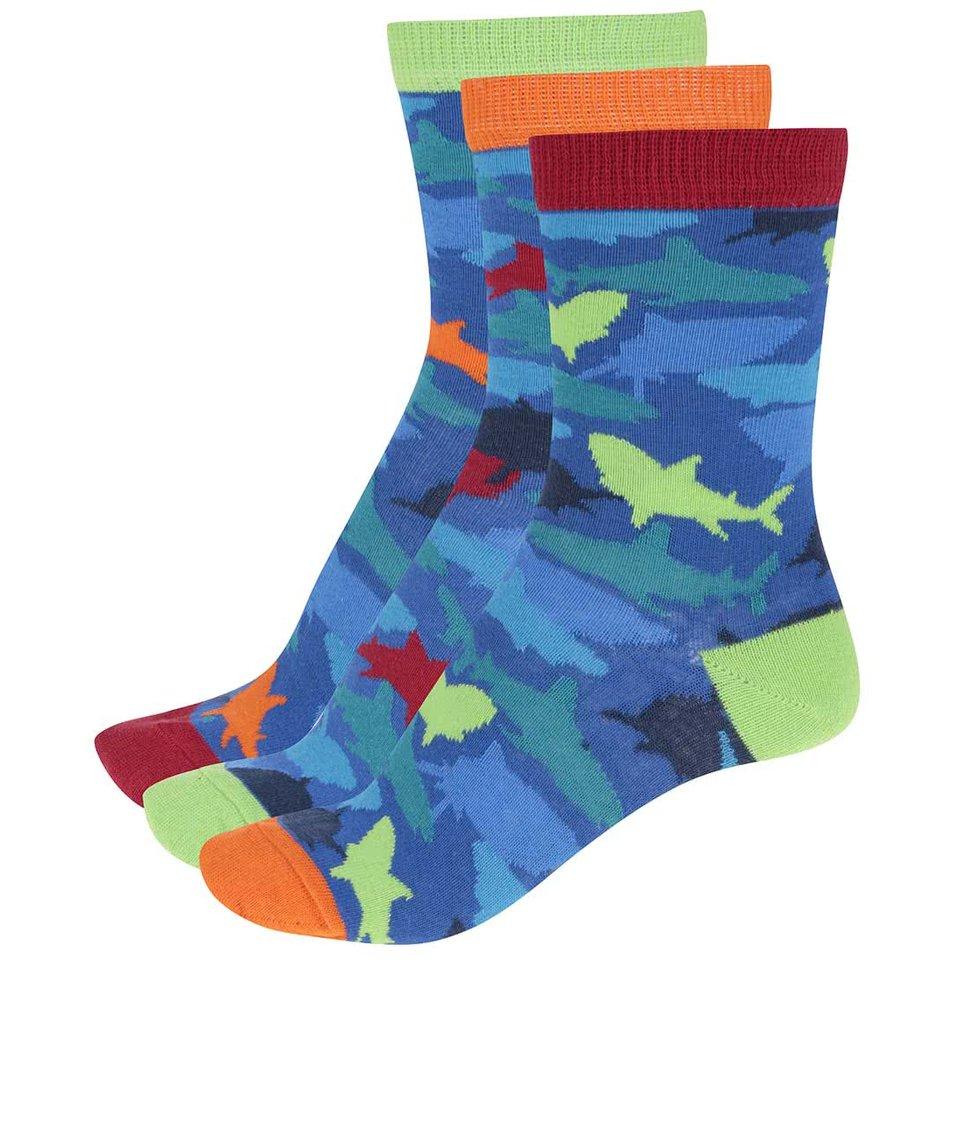 Sada tří modrých klučičích ponožek se žraloky Oddsocks Shark