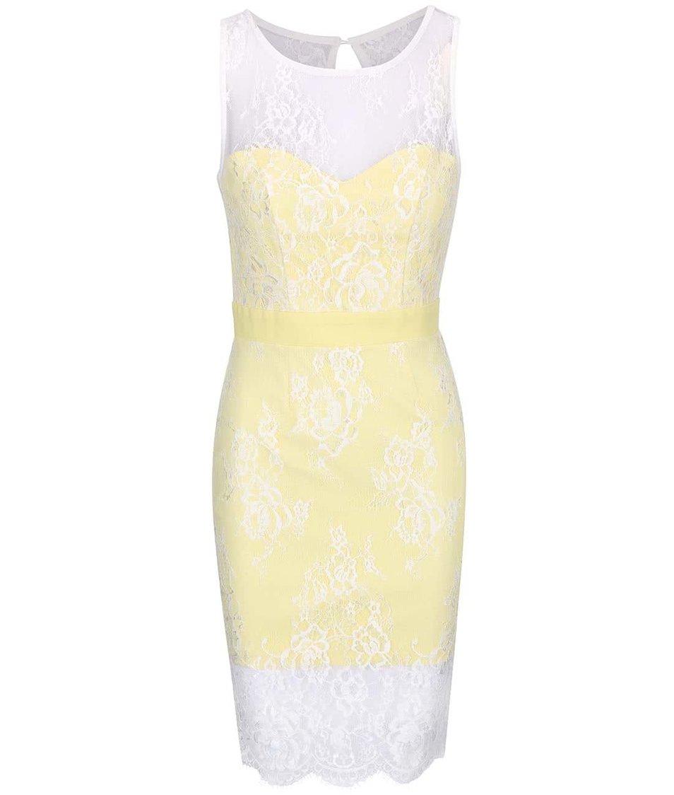 Žluté šaty s krajkou Little Mistress
