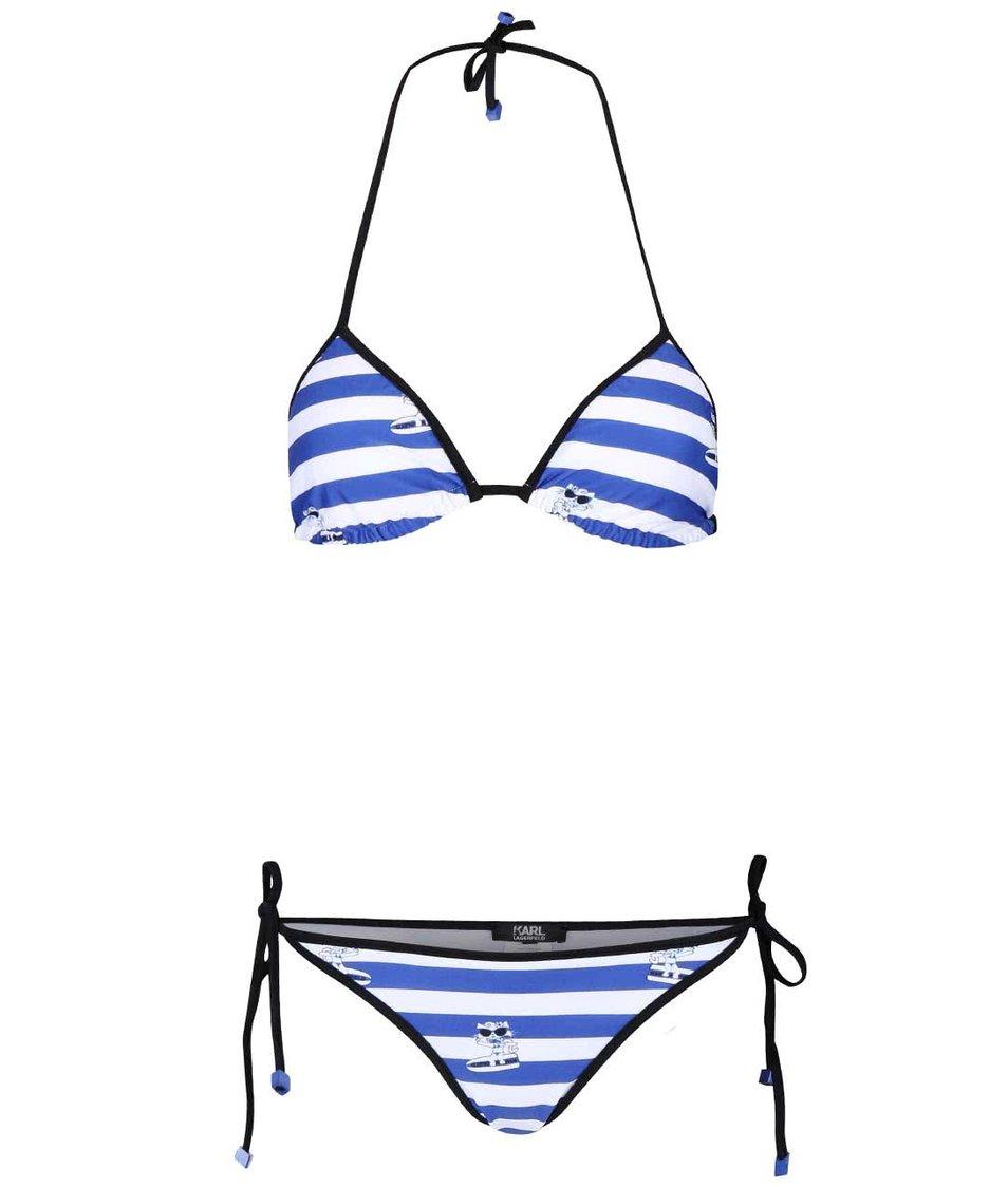 Bílo-modré pruhované dvoudílné plavky KARL LAGERFELD