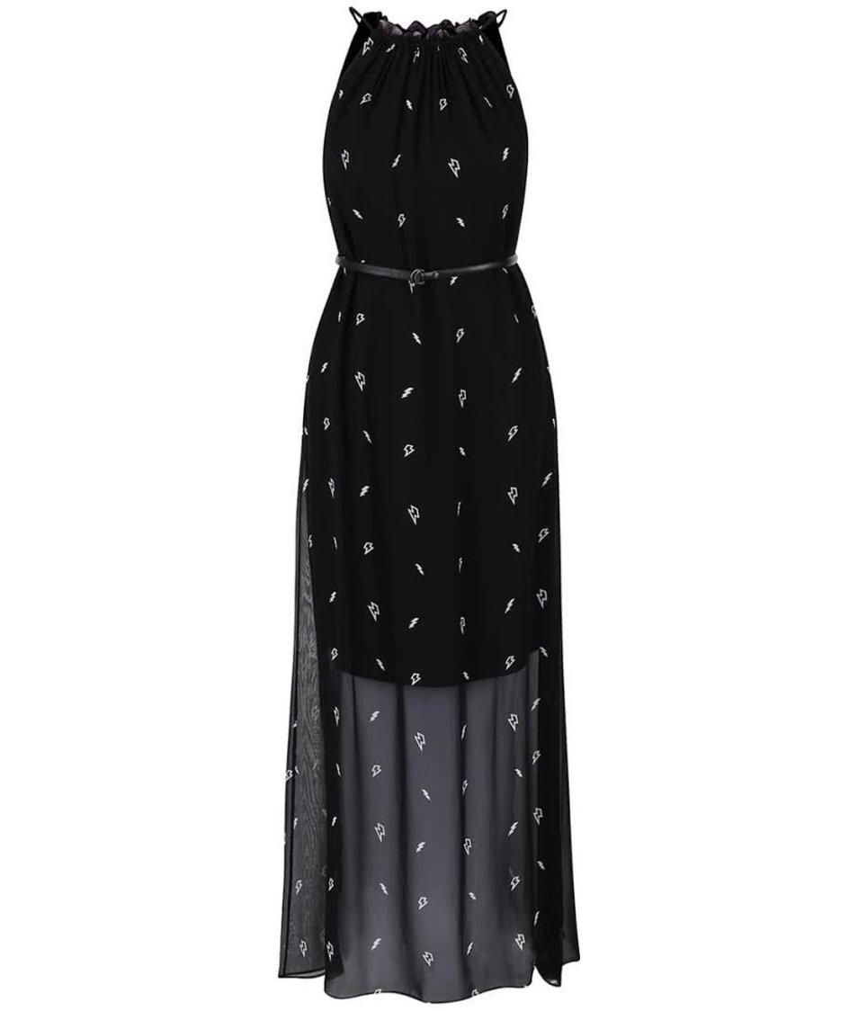 Černé vzorované maxi šaty s páskem KARL LAGERFELD