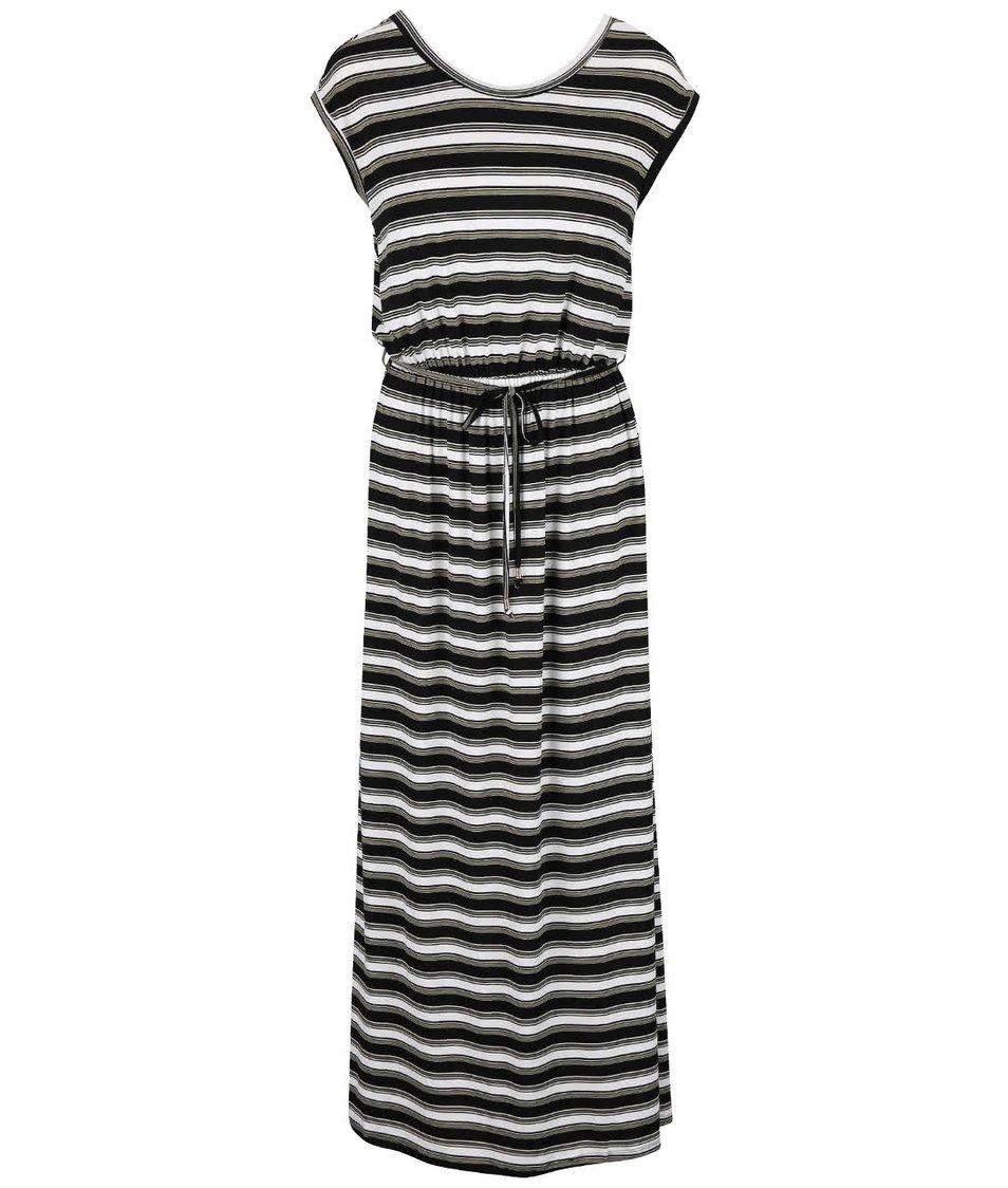 Krémovo-černo-khaki pruhované maxišaty  Dorothy Perkins