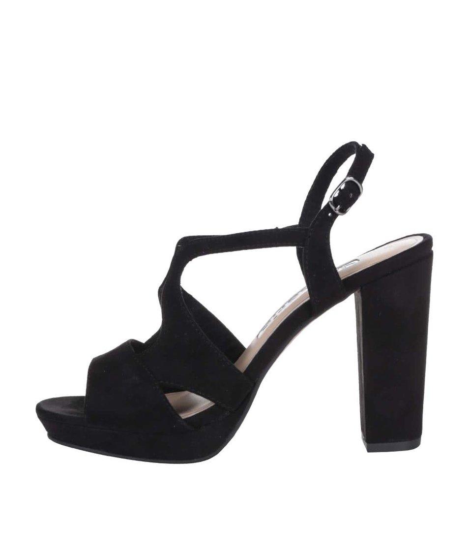 Černé páskové sandály na vysokém podpatku Tamaris