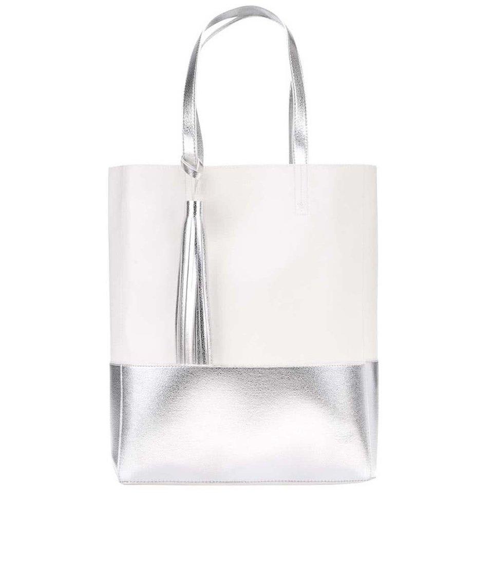 Bílý shopper s detaily ve stříbrné barvě Clarks Moroccan Gem