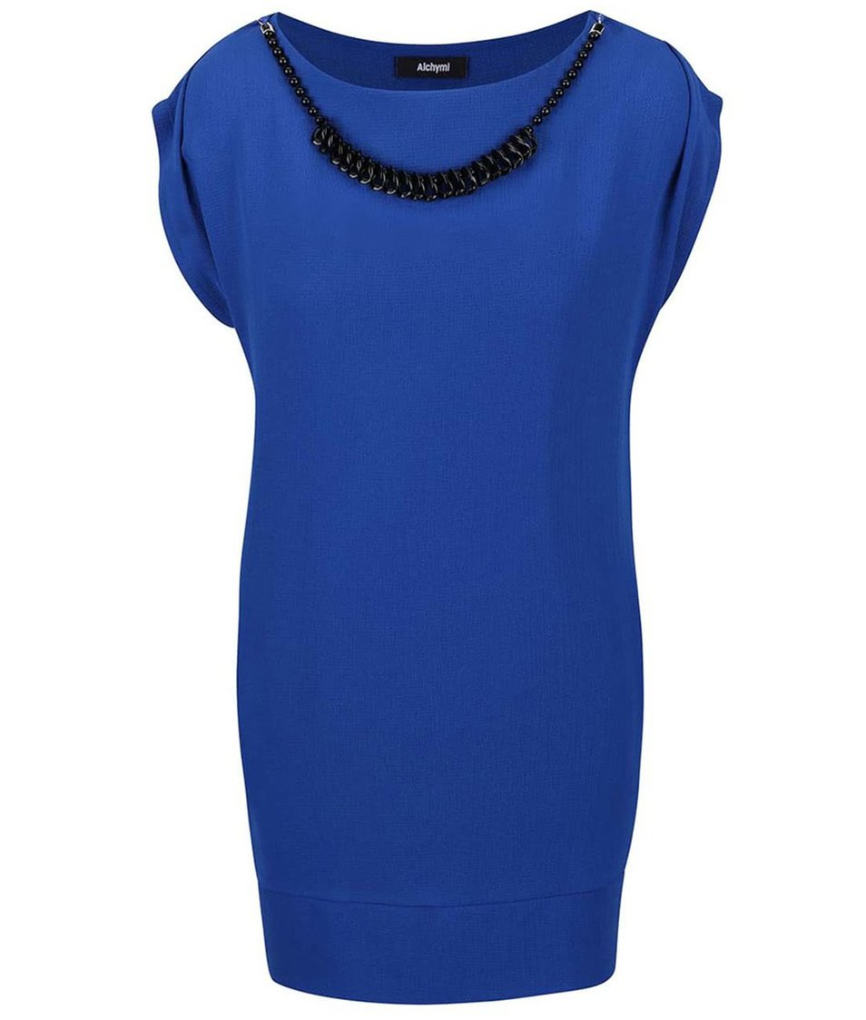 Modré šaty s korálky ve výstřihu a tílkem Alchymi Nemesia