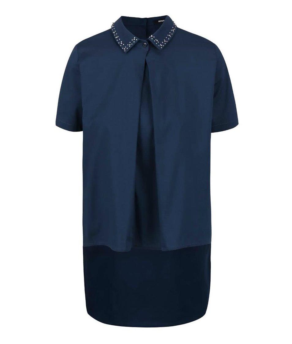 Modrá košile s aplikací na límečku Alchymi Viola