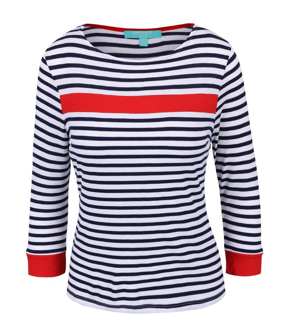 Modro-bílý top s červenými pruhy Fever London Bardot