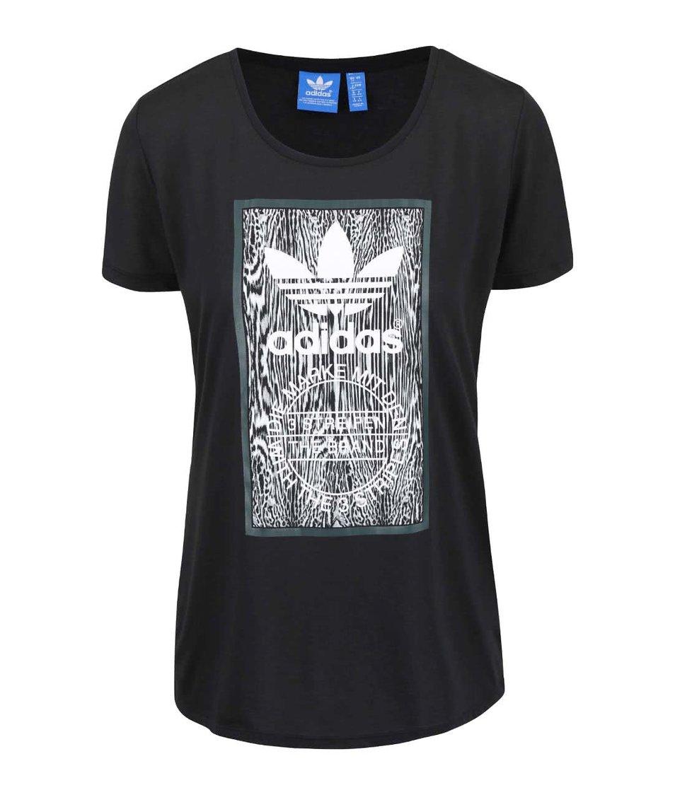 Černé dámské tričko s potiskem adidas Originals Soccer
