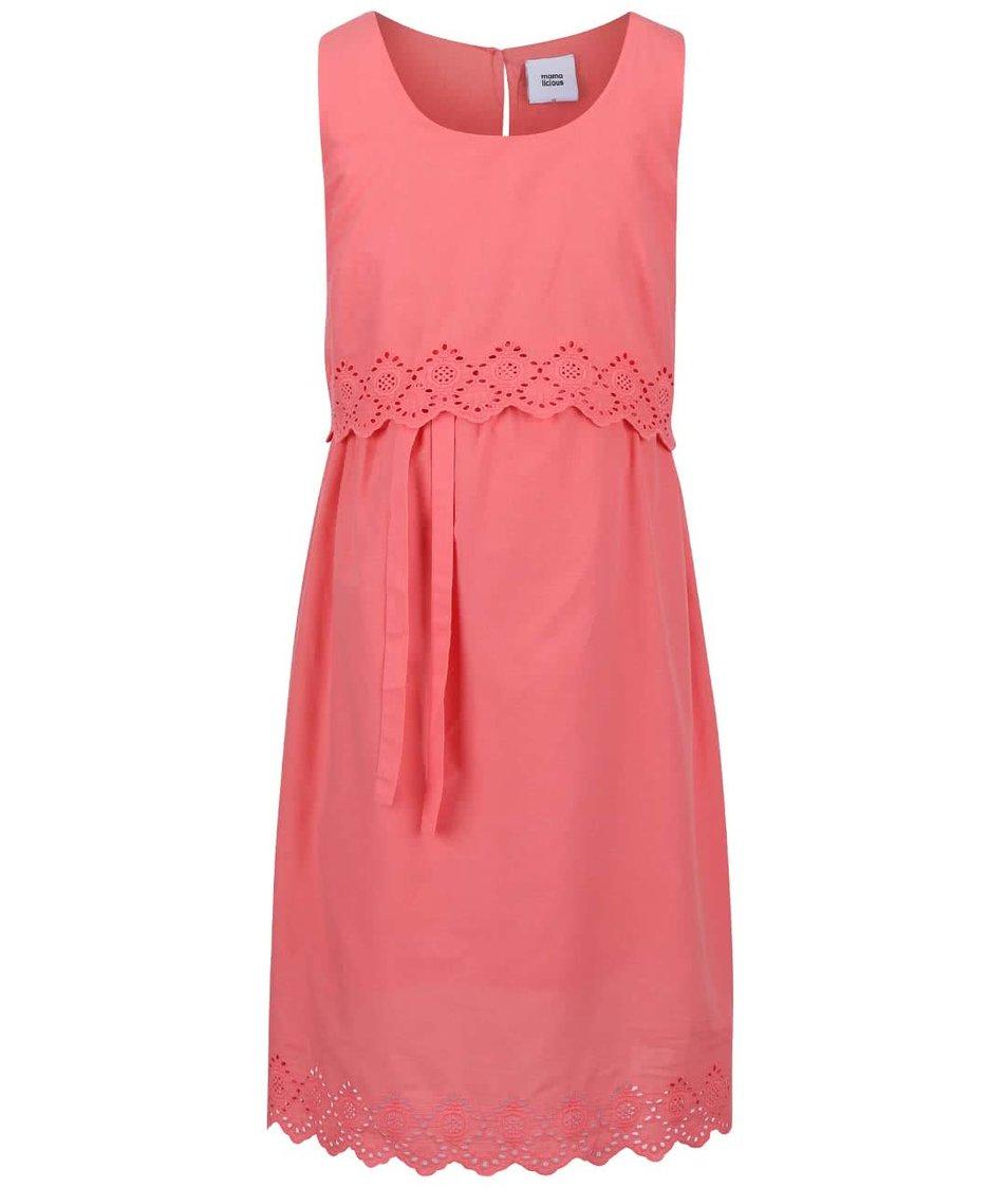 Růžové těhotenské šaty Mama.licious Femmy