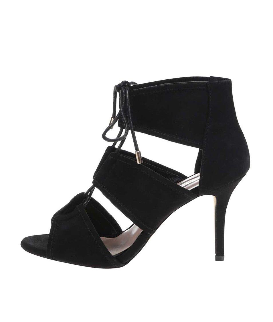 Černé sandály v semišové úprave na podpatku Dorothy Perkins