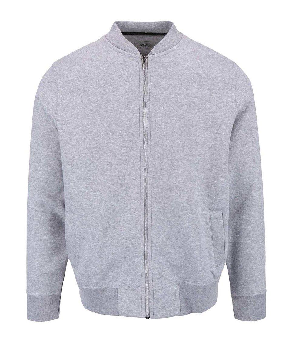 Šedá mikina na zip ve stříbrné barvě Burton Menswear London