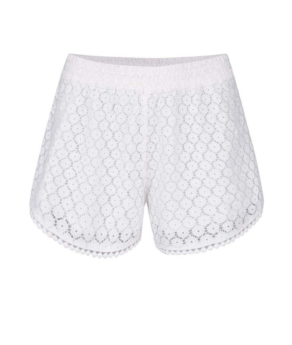 Bílé krajkované kraťasy Vero Moda Jolien