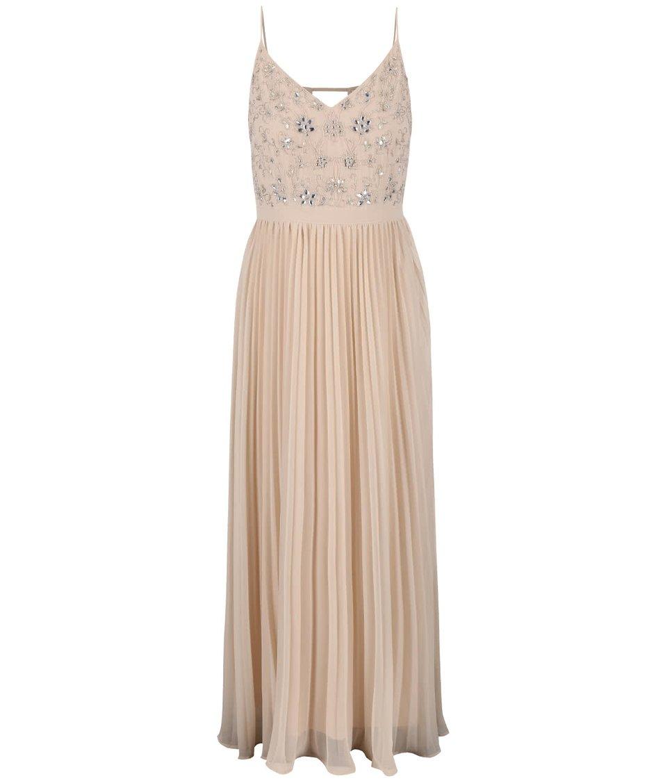 Béžové maxišaty s plisovanou sukní Miss Selfridge