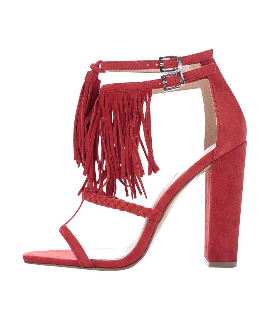 Červené semišové sandály na podpatku Miss Selfridge