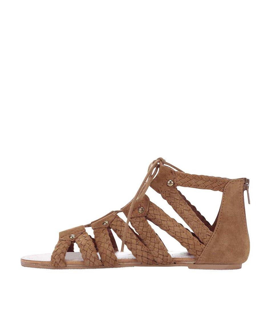 Hnědé semišové šněrovací sandály Miss Selfridge
