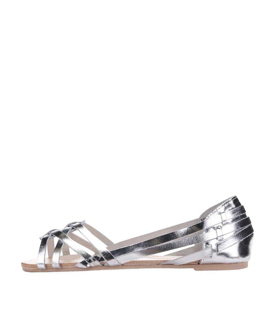 Kožené sandály ve stříbrné barvě Miss Selfridge