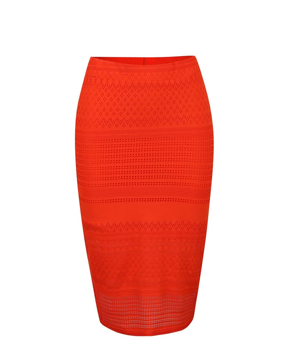 Oranžová krajkovaná sukně Miss Selfridge