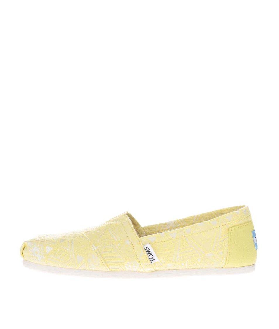 Neonově žluté dámské loafers Toms