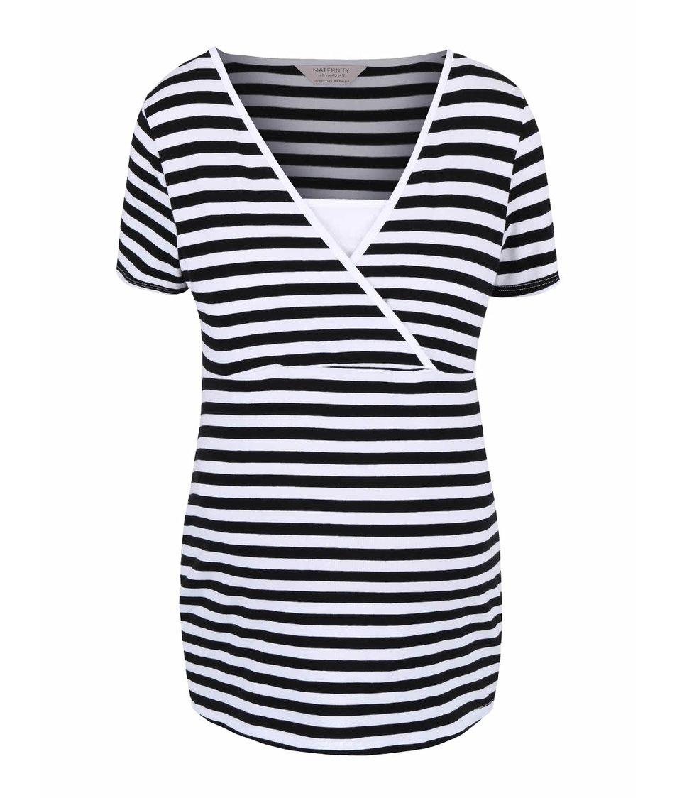 Černo-bílé těhotenské tričko se vsadkou Dorothy Perkins Maternity