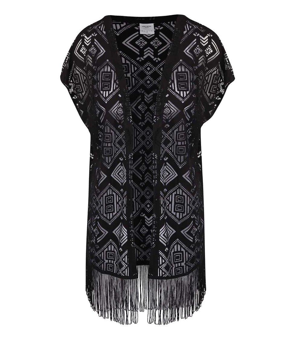 Černá vesta s třásněmi Vero Moda Carla