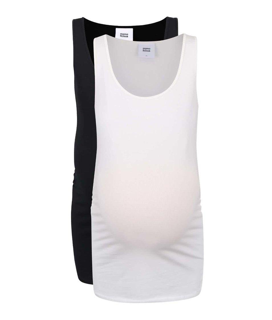 Sada dvou těhotenských tílek v černé a krémové barvě Mama.licious Lea