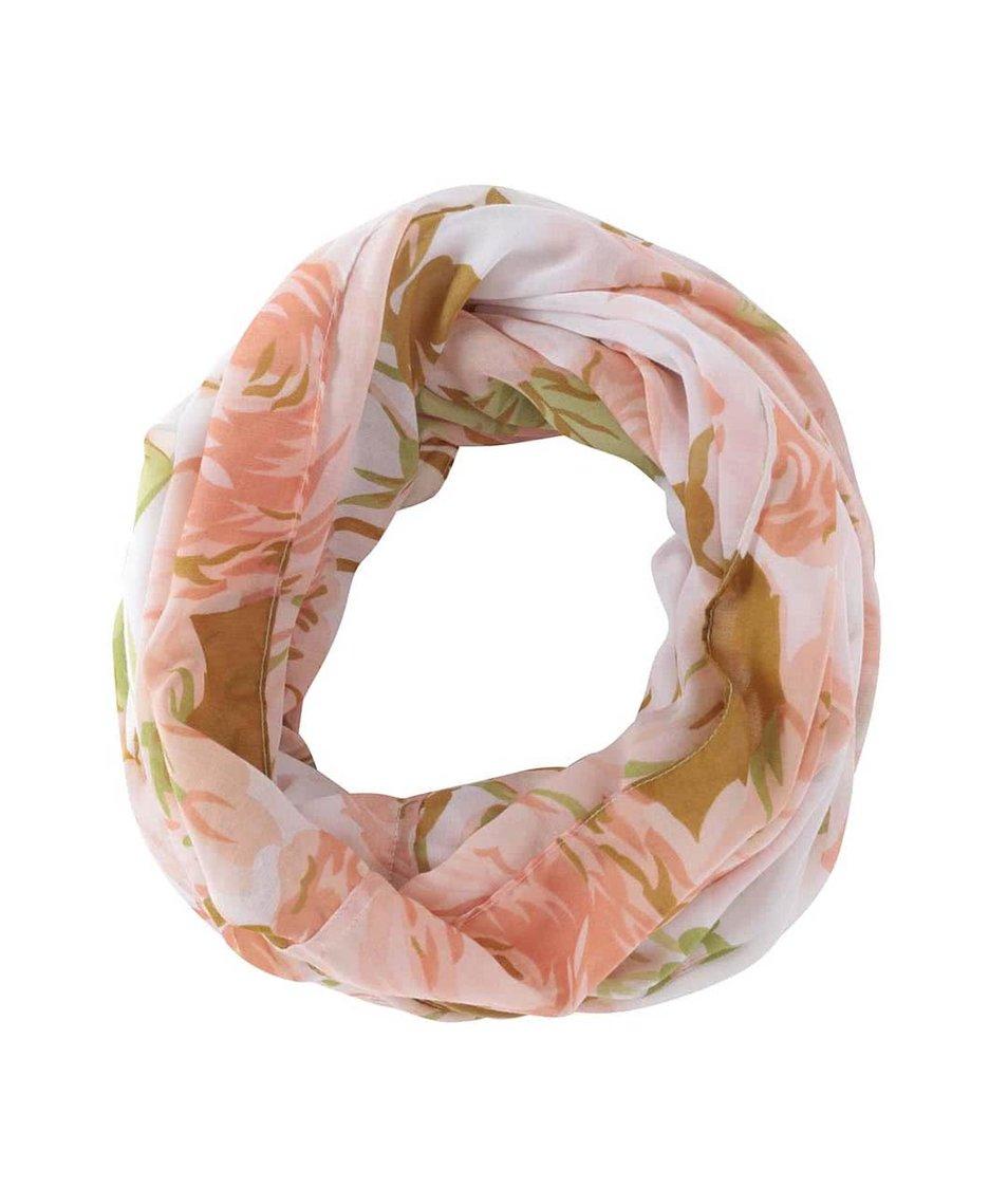 Bílý dutý šátek s květovaným vzorem Pieces Ni