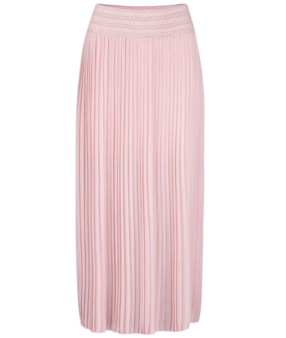 Světle růžová plisovaná maxi sukně Anna Smith