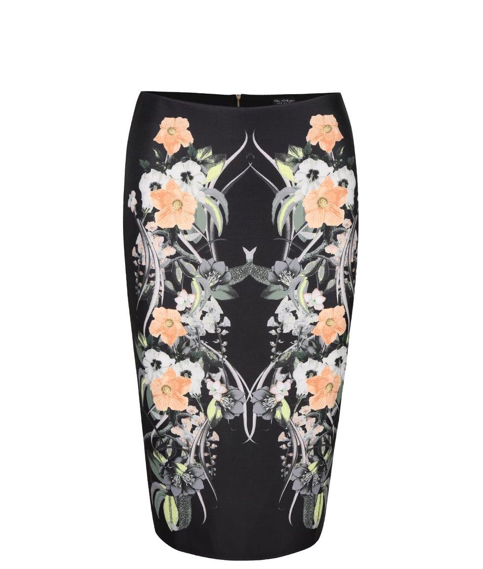 Černá pouzdrová sukně se vzorem květin Miss Selfridge