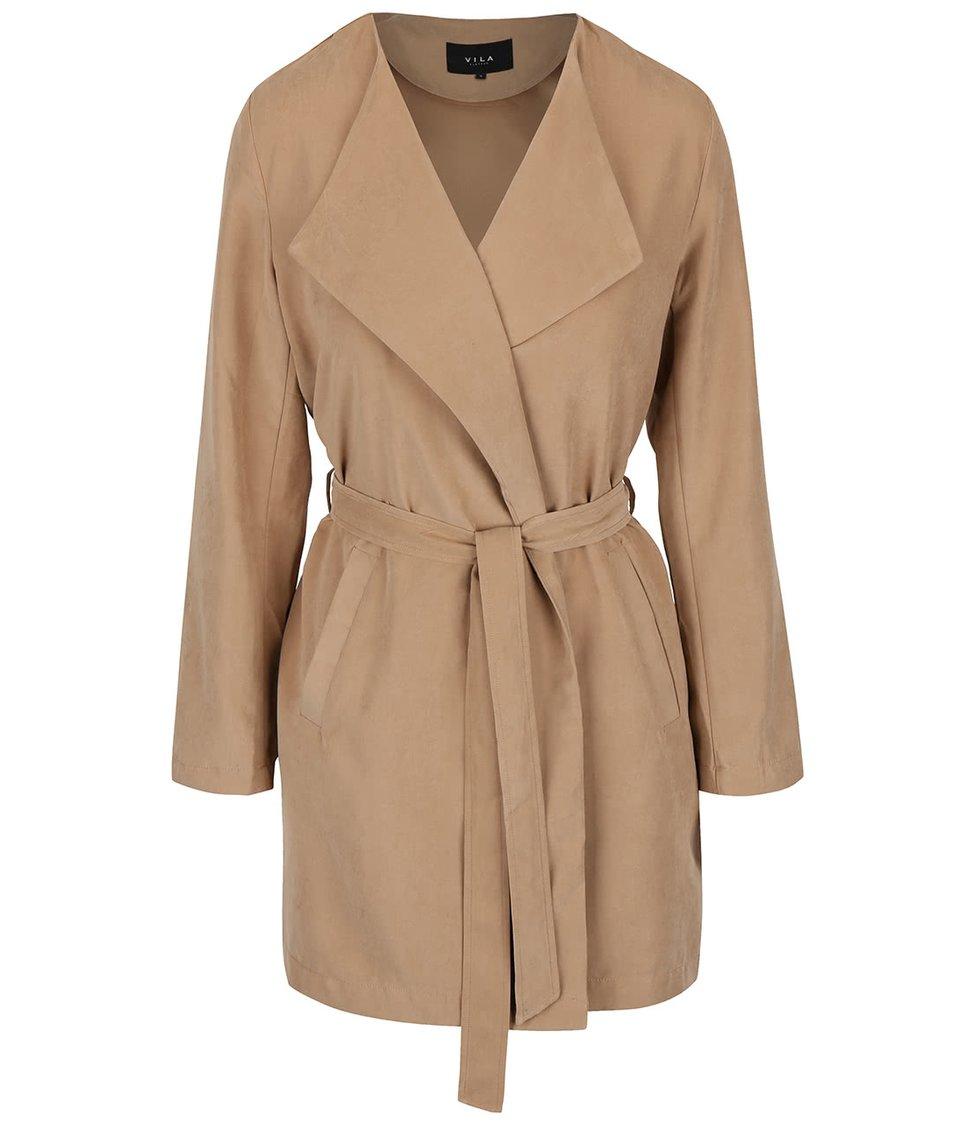 Hnědý kabát se zavazováním VILA Can