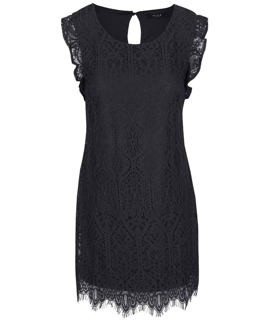 Tmavě šedé krajkované šaty VILA Filla