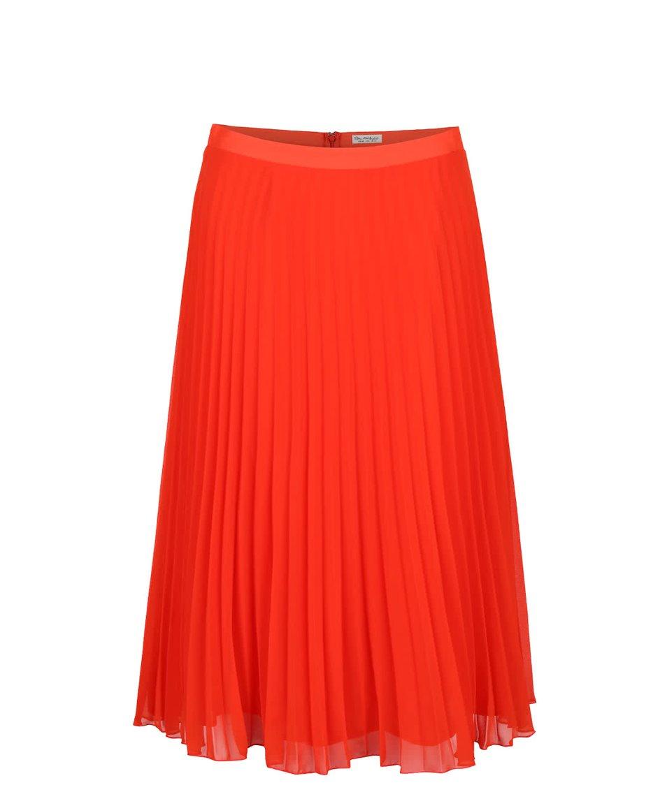 Červená plisovaná midi sukně Miss Selfridge