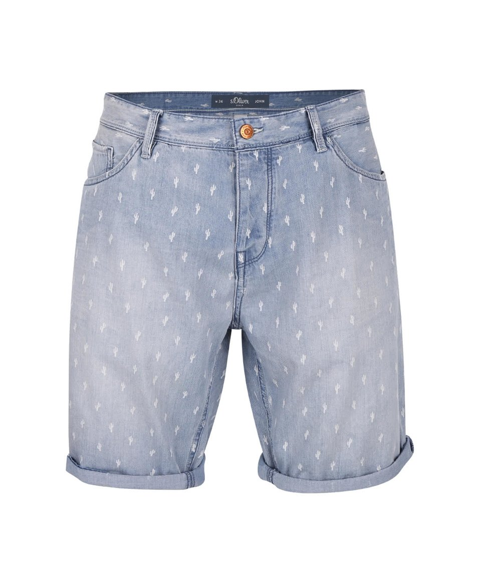 Světle modré džínové kraťasy se vzorem s.Oliver