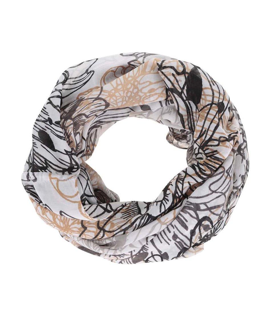 Krémový dutý šátek s šedým vzorem Pieces Bjorg