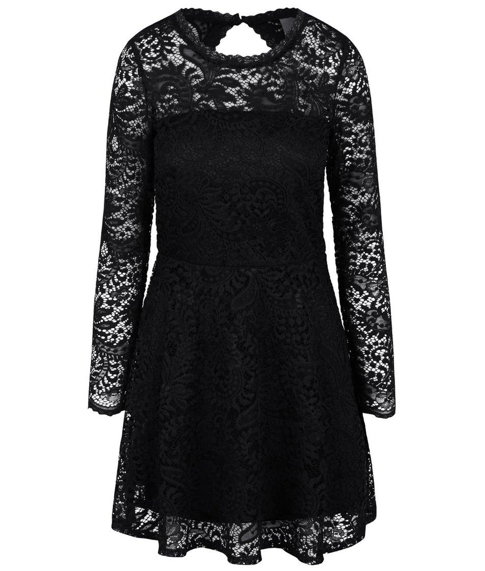 Černé krajkované šaty s dlouhým rukávem Vero Moda Celeb
