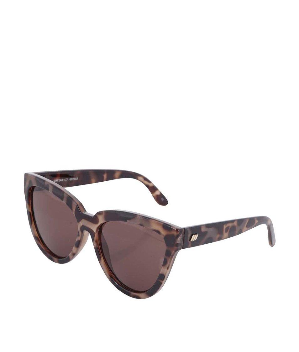 Černo-hnědé želvovinové dámské sluneční brýle Le Specs Liar Lair