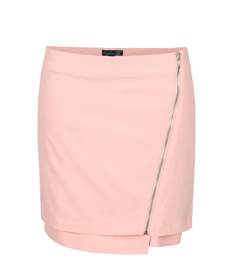 Pudrově růžová sukně s asymetrickým zipem Smashed Lemon
