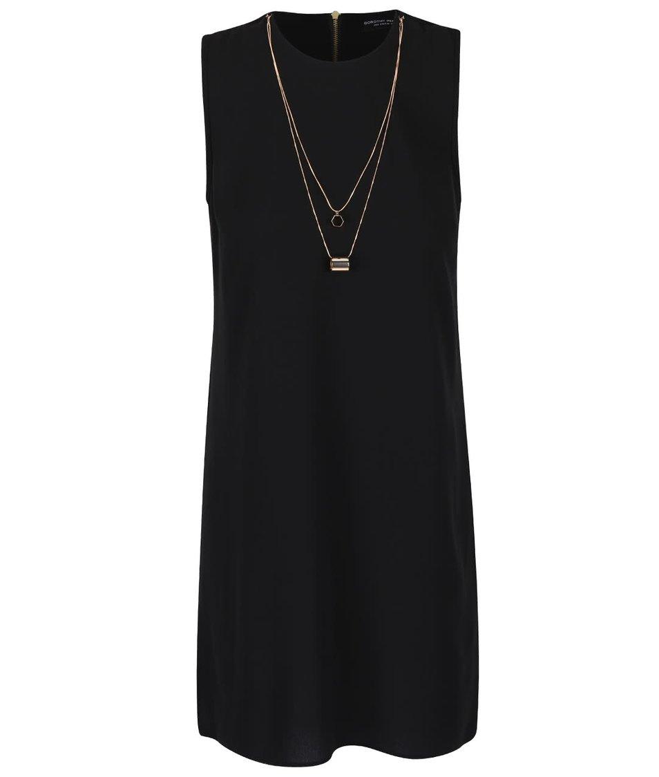 Černé šaty s ozdobou ve zlaté barvě Dorothy Perkins