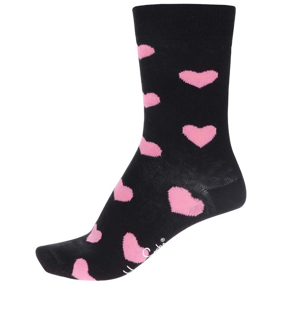 Černé dámské ponožky Happy Socks Heart
