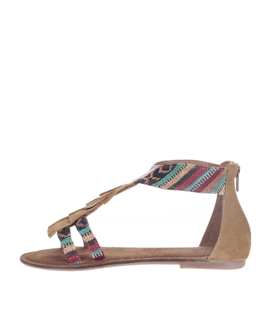 Hnědé kožené sandály s barevnými vzory Tamaris