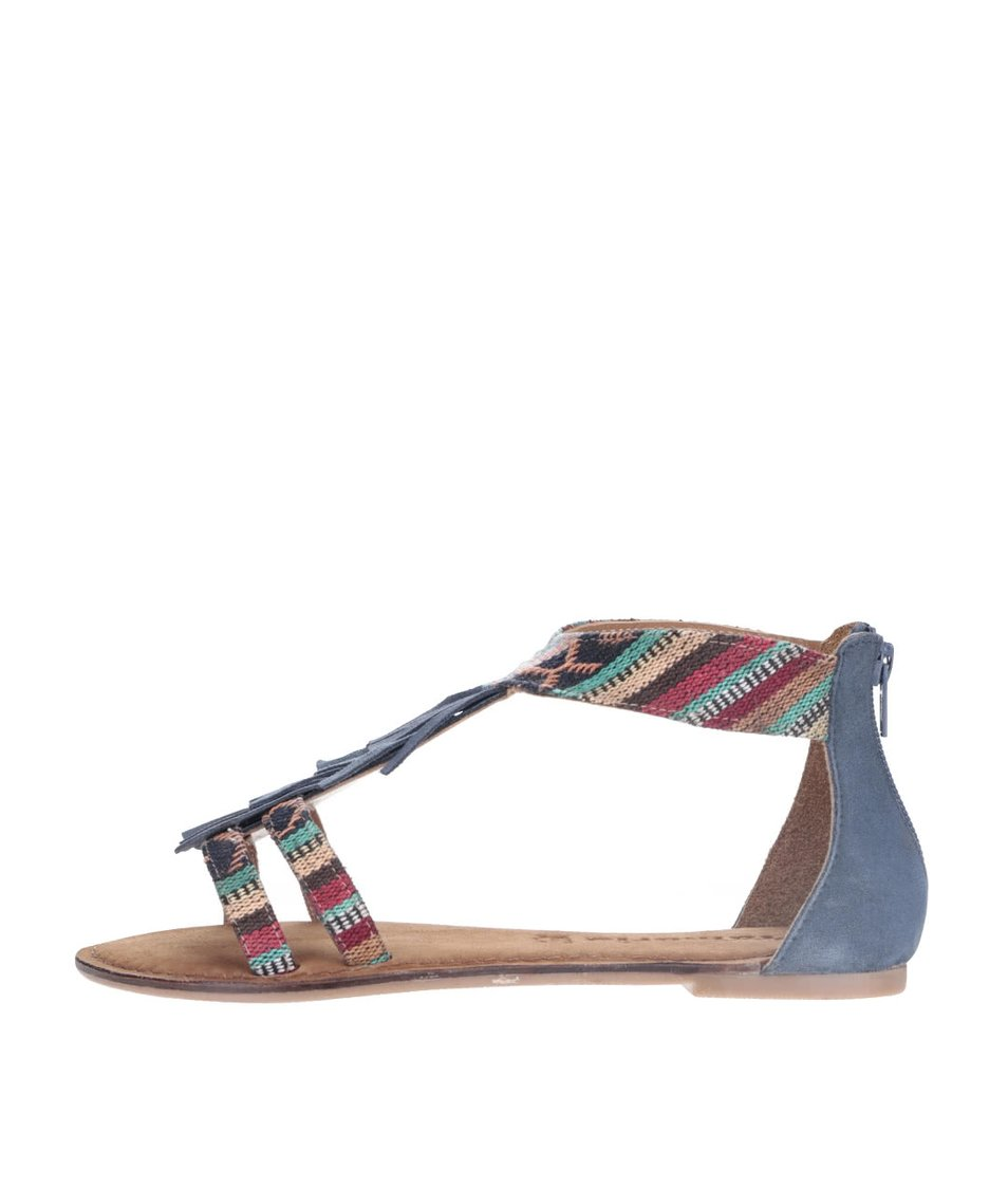 Modré kožené sandály s barevnými vzory Tamaris