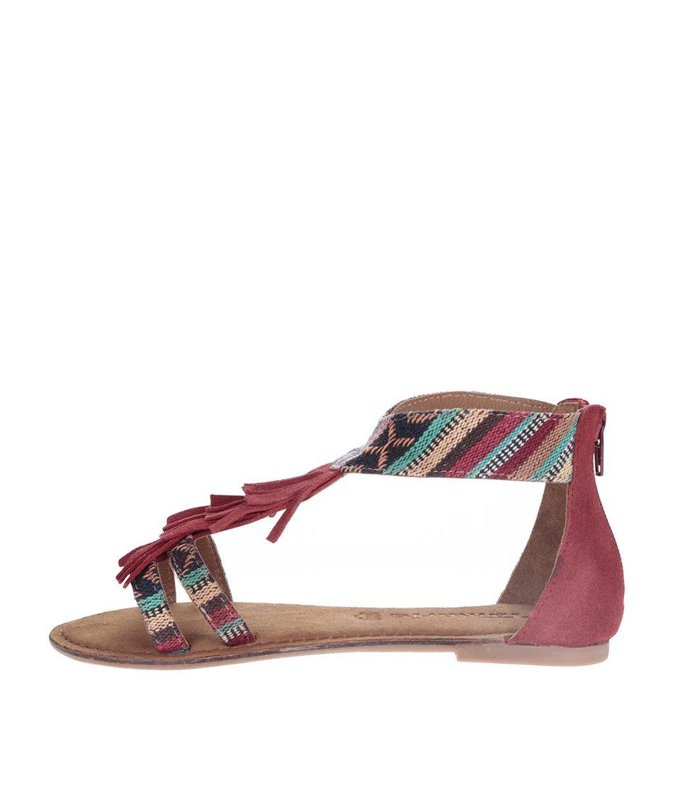 Červené kožené sandály s barevnými vzory Tamaris
