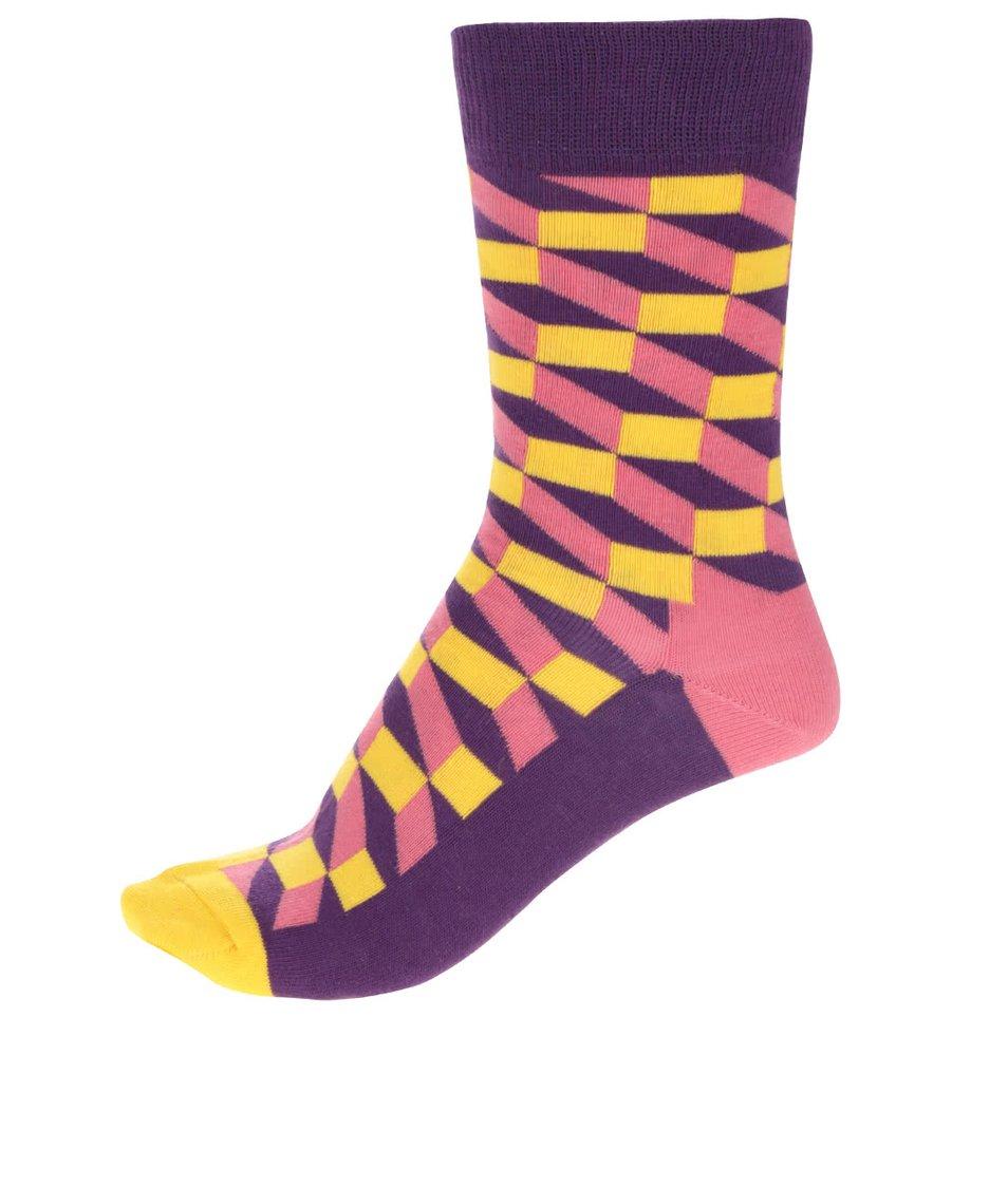 Fialovo-žluté dámské ponožky Happy Socks Filled Optic