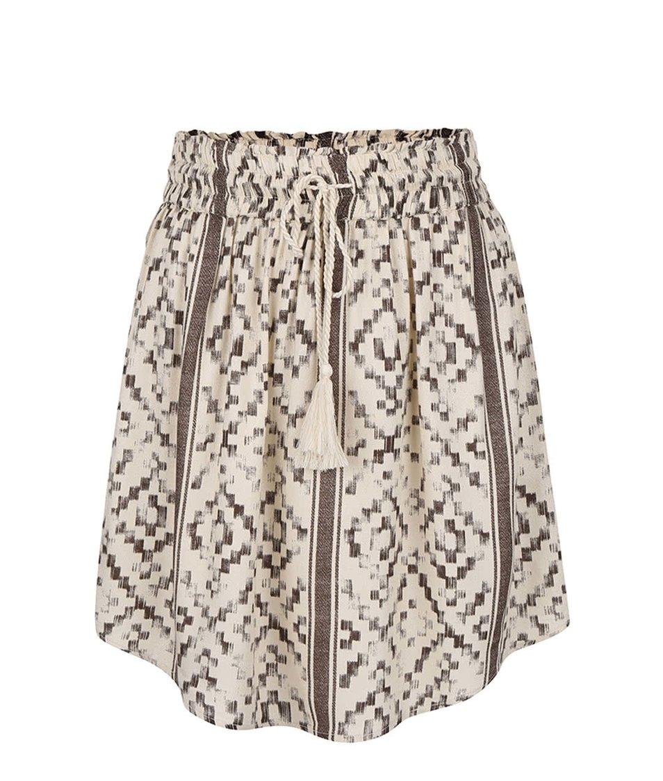 Hnědo-krémová vzorovaná sukně VILA Ruby