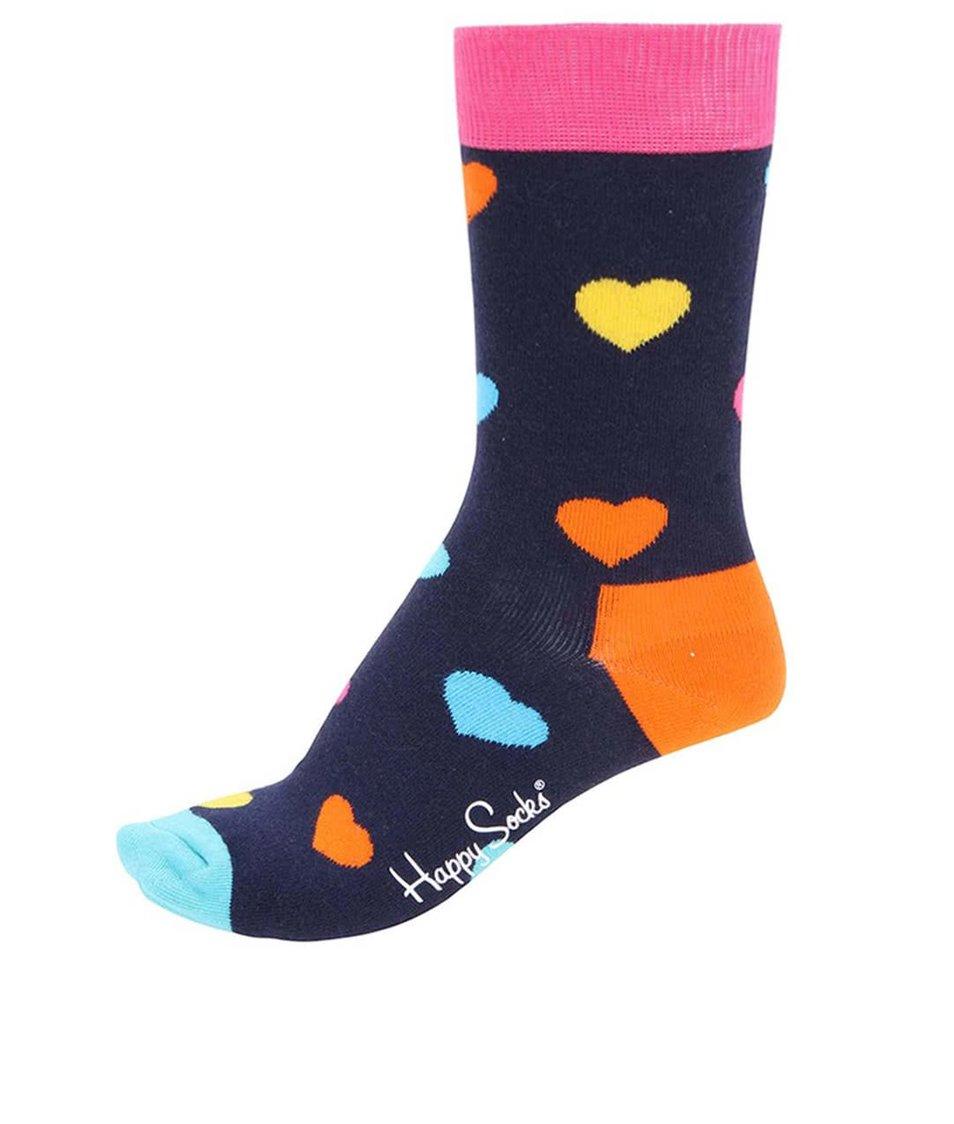 Tmavě modré unisex ponožky se srdíčky Happy Socks Heart