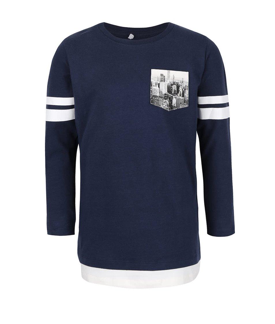 Tmavě modré klučičí tričko s kapsou name it Kroels