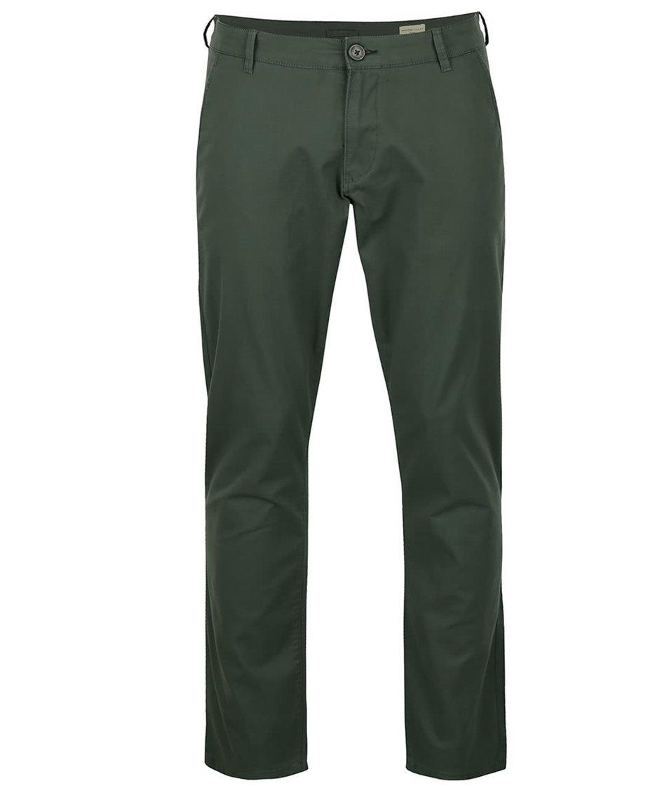 Tmavě zelené kalhoty Selected Three Paris