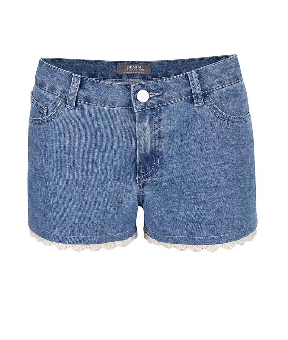 Modré džínové šortky s krajkovaným lemem Dorothy Perkins