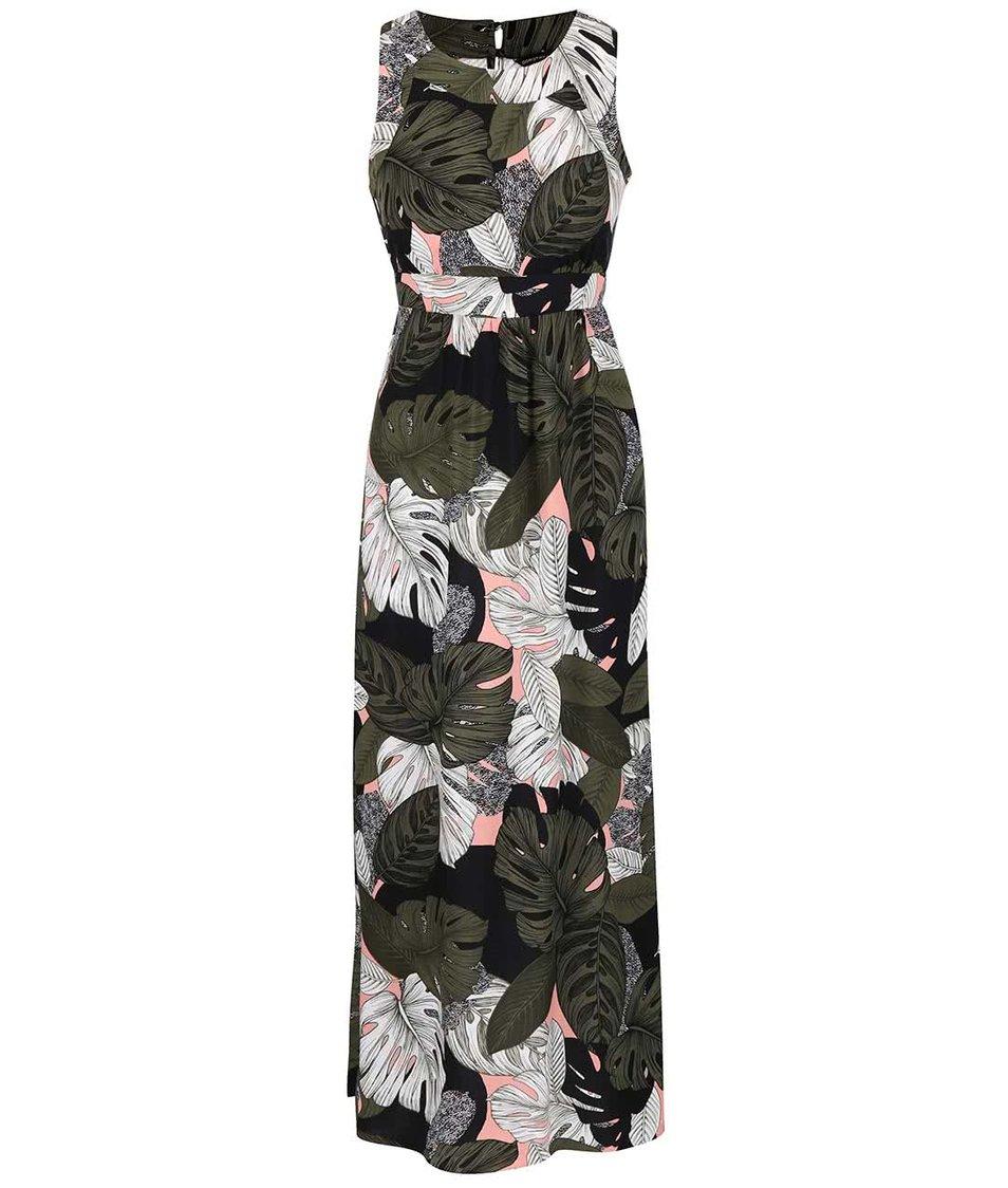 Khaki-černé maxišaty s tropickým vzorem Dorothy Perkins