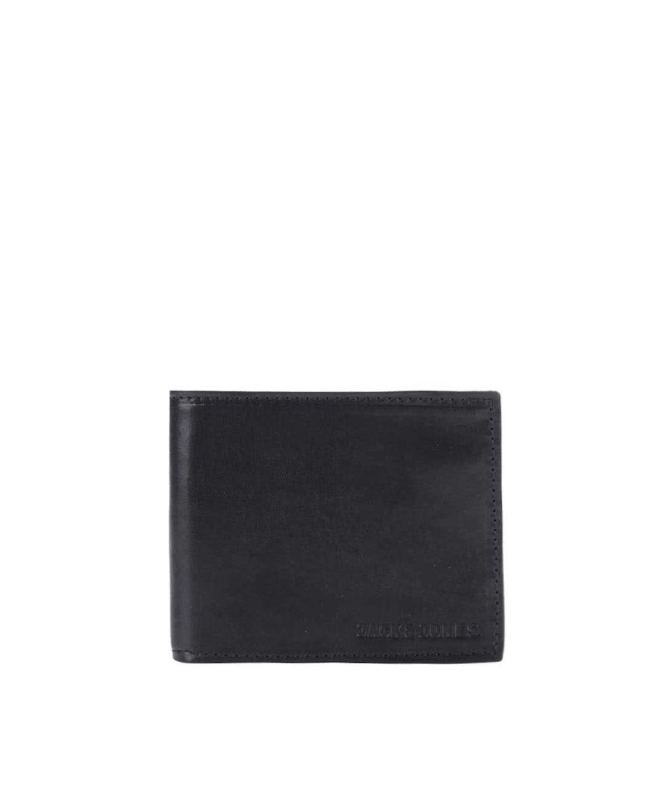 Černá kožená peněženka Jack & Jones Denim